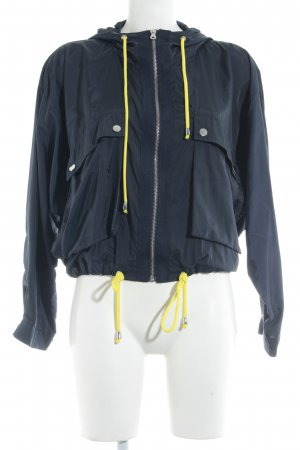 Zara Basic Bomberjacke dunkelblau-neongelb sportlicher Stil