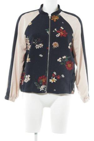 Zara Basic Bomberjack donkerblauw-rosé bloemenprint college stijl