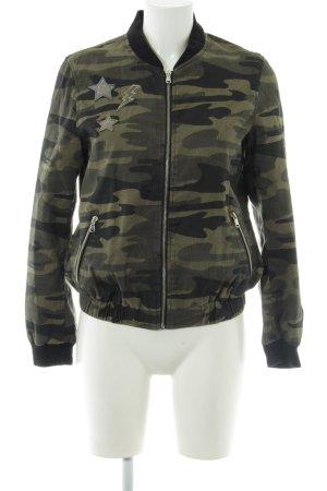 Zara Basic Bomberjack khaki-zwart camouflageprint atletische stijl