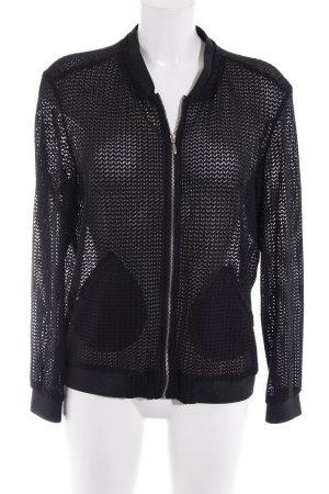 Zara Basic Blouson aviateur noir motif en zigzag style mode des rues