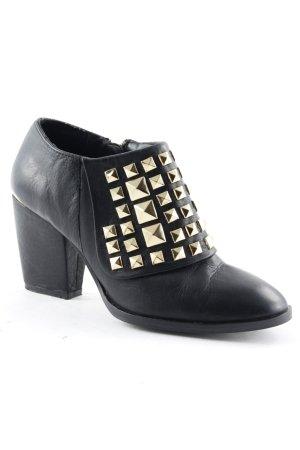 Zara Basic Booties schwarz Metallic-Optik