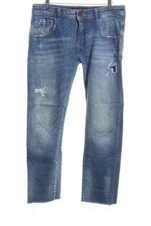 Zara Basic Boyfriend jeans neon blauw tweedehandse uitstraling