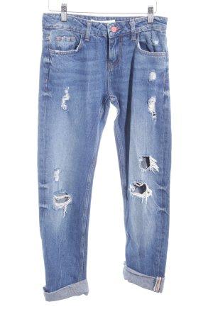 Zara Basic Boyfriendjeans blau Casual-Look