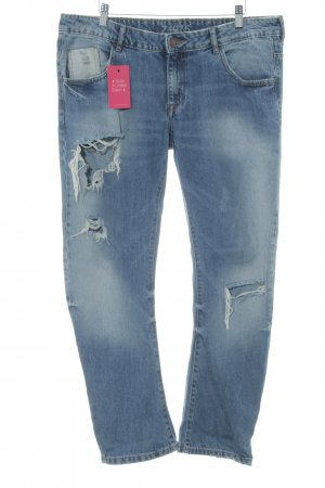 Zara Basic Boyfriendjeans blau Destroy-Optik