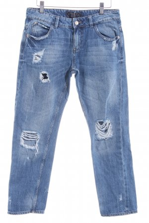 Zara Basic Boyfriendjeans stahlblau Destroy-Optik