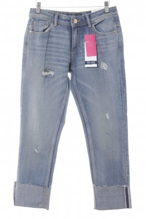 Zara Basic Boyfriendjeans stahlblau Used-Optik