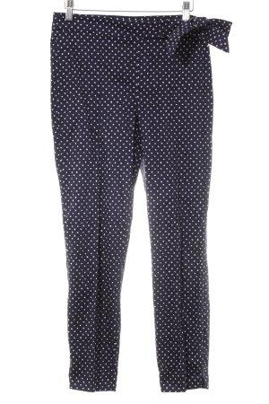 Zara Basic Bundfaltenhose dunkelblau-weiß Punktemuster Casual-Look