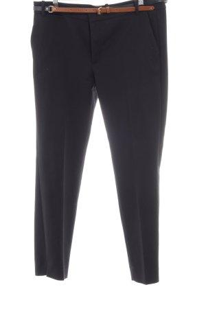 Zara Basic Bundfaltenhose schwarz-braun Business-Look