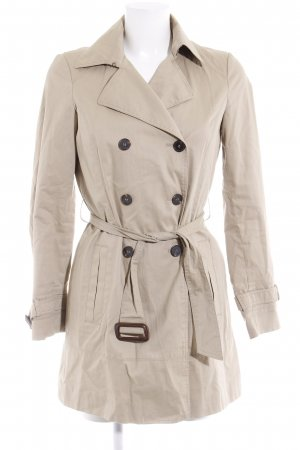 Zara Basic Heavy Pea Coat cream casual look