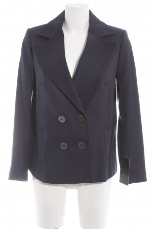 Zara Basic Heavy Pea Coat dark blue casual look
