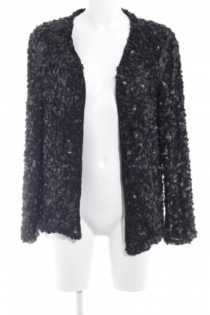 Zara Basic Cárdigan negro estampado con diseño abstracto look casual