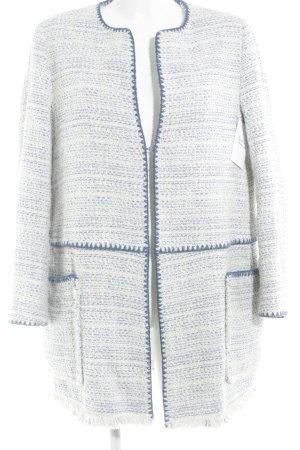 Zara Basic Cardigan wollweiß-blau Webmuster Casual-Look
