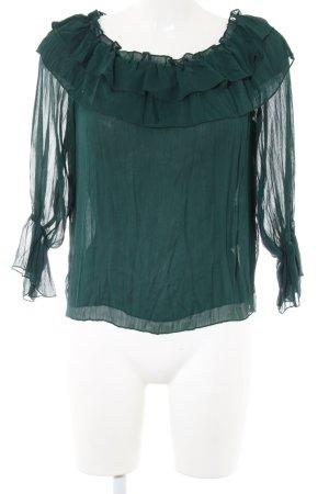 Zara Basic Blusa tipo Carmen verde elegante