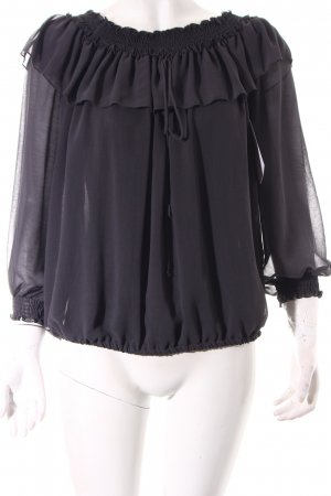 Zara Basic Carmen-Bluse dunkelgrau Romantik-Look