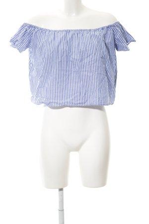 Zara Basic Carmen blouse korenblauw-wit gestreept patroon marine uitstraling