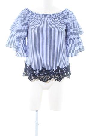 Zara Basic Carmen shirt blauw-wit gestreept patroon casual uitstraling