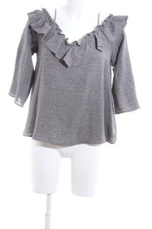 Zara Basic Carmen shirt lichtgrijs-wit gestippeld casual uitstraling