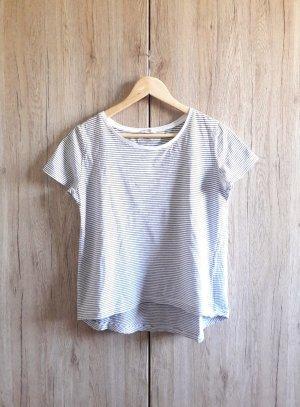 Zara Basic Casual Shirt gestreift schwarz weiß Gr. S