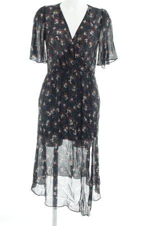 Zara Basic Chiffonkleid dunkelblau Blumenmuster Transparenz-Optik