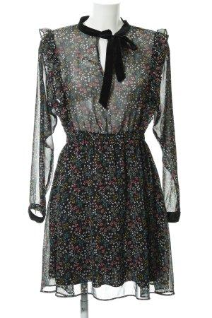Zara Basic Chiffon jurk zwart bloemenprint elegant
