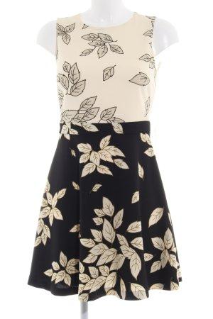 Zara Basic Cocktailkleid schwarz-hellbeige florales Muster Elegant