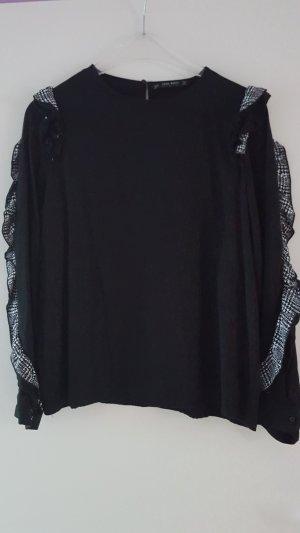 Zara Basic Collection Blusenshirt mit Rüschen in Hahnentritt Muster  Gr. L