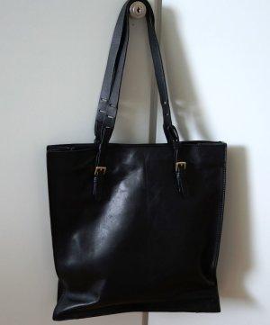 ZARA Basic Collection Leder Tote Shopper Tasche Beutel schwarz Clean Scandi Chic