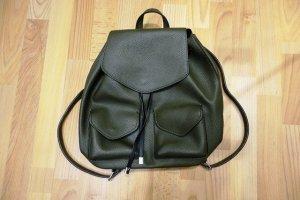 Zara Backpack green grey-khaki imitation leather