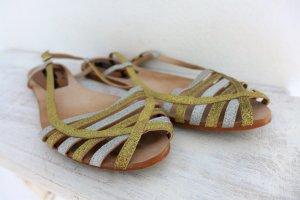Zara Basic Collection Schuhe Sandalen Sommer gold silber Gr. 38