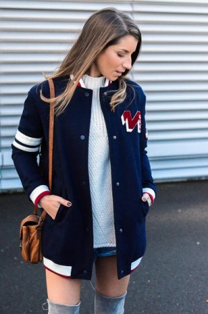 Zara Basic Collegejacke Motivdruck College-Look