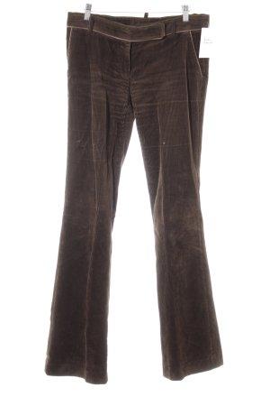 Zara Basic Pantalone di velluto a coste marrone scuro stile casual