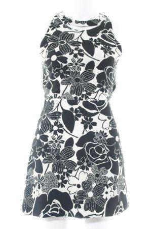 Zara Basic Cut-Out-Kleid schwarz-weiß florales Muster Elegant