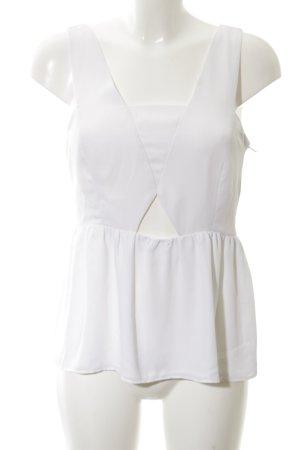 Zara Basic Cut-Out-Top weiß Elegant