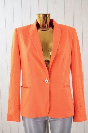 ZARA BASIC Damen Blazer Jerseyblazer Jacke Jersey Orange Gefüttert Einknopf Gr.L