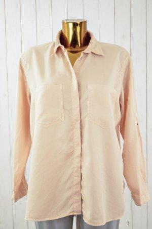ZARA BASIC Damen Bluse Hemd Oversized Apricot Langarm Brusttasche Lyocell Gr.S