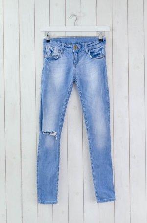 ZARA BASIC Damen Jeans Slim Fit Used Hellblau Baumwolle Elastan Gr.34