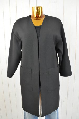 ZARA BASIC Damen Mantel Schwarz Blazermantel Gefüttert Offen 3/4-Arm Kragenlos