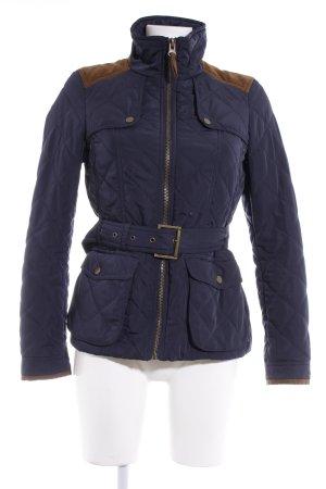 Zara Basic Daunenjacke dunkelblau-ocker Steppmuster Casual-Look