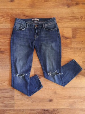 Zara Basic Denim Destroyed Ripped Jeans blau Gr. 38