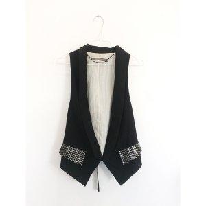 Zara Basic dünne taillierte Weste mit Silber Nieten schwarz 38 40