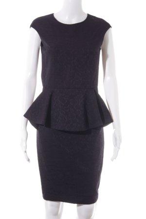 Zara Basic Etuikleid schwarz-dunkelviolett Ornamentenmuster Elegant