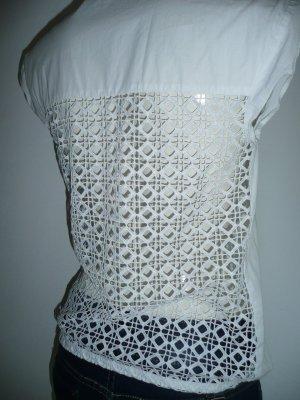 Zara Basic Eyecatcher Sommer Bluse ohne Arm weiß Rücken mit Lochmuster Gr XS 36