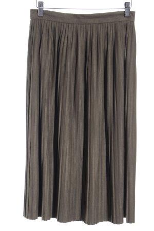 Zara Basic Faltenrock olivgrün Casual-Look