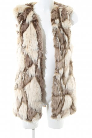 Zara Basic Fur vest natural white-brown casual look