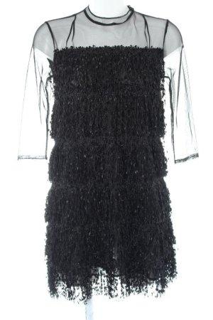 Zara Basic Vestido con flecos negro Estilo años 60