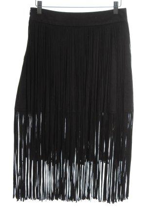 Zara Basic Franjerok zwart straat-mode uitstraling