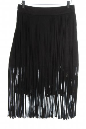 Zara Basic Gonna con frange nero stile da moda di strada