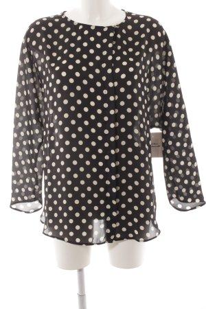 Zara Basic Glanzbluse schwarz-wollweiß Punktemuster klassischer Stil