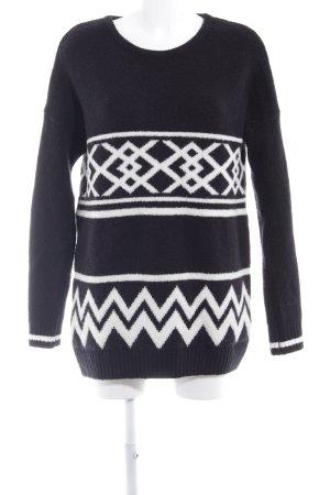Zara Basic Grobstrickpullover schwarz-weiß abstraktes Muster Casual-Look