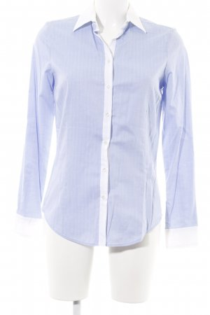 Zara Basic Hemdblouse neon blauw-wit gestreept patroon zakelijke stijl